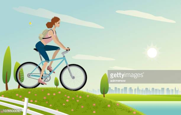 woman cycling - tourist stock illustrations