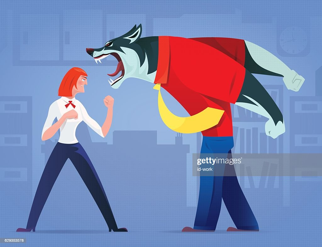 woman defending against business wolf