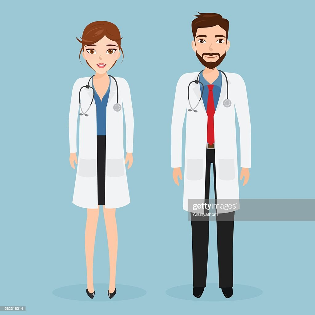 woman doctor and man doctor character at hospital.