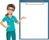 Woman Doctor Blank Folder Isolated