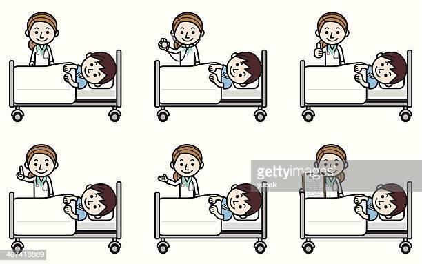 ilustraciones, imágenes clip art, dibujos animados e iconos de stock de mujer médico examinar paciente de sexo masculino - asistente de enfermera