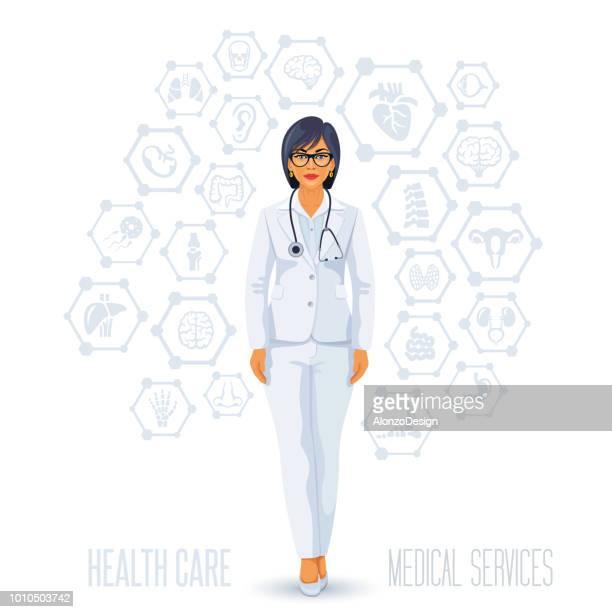 女性医師。医療コンセプト - 女医点のイラスト素材/クリップアート素材/マンガ素材/アイコン素材