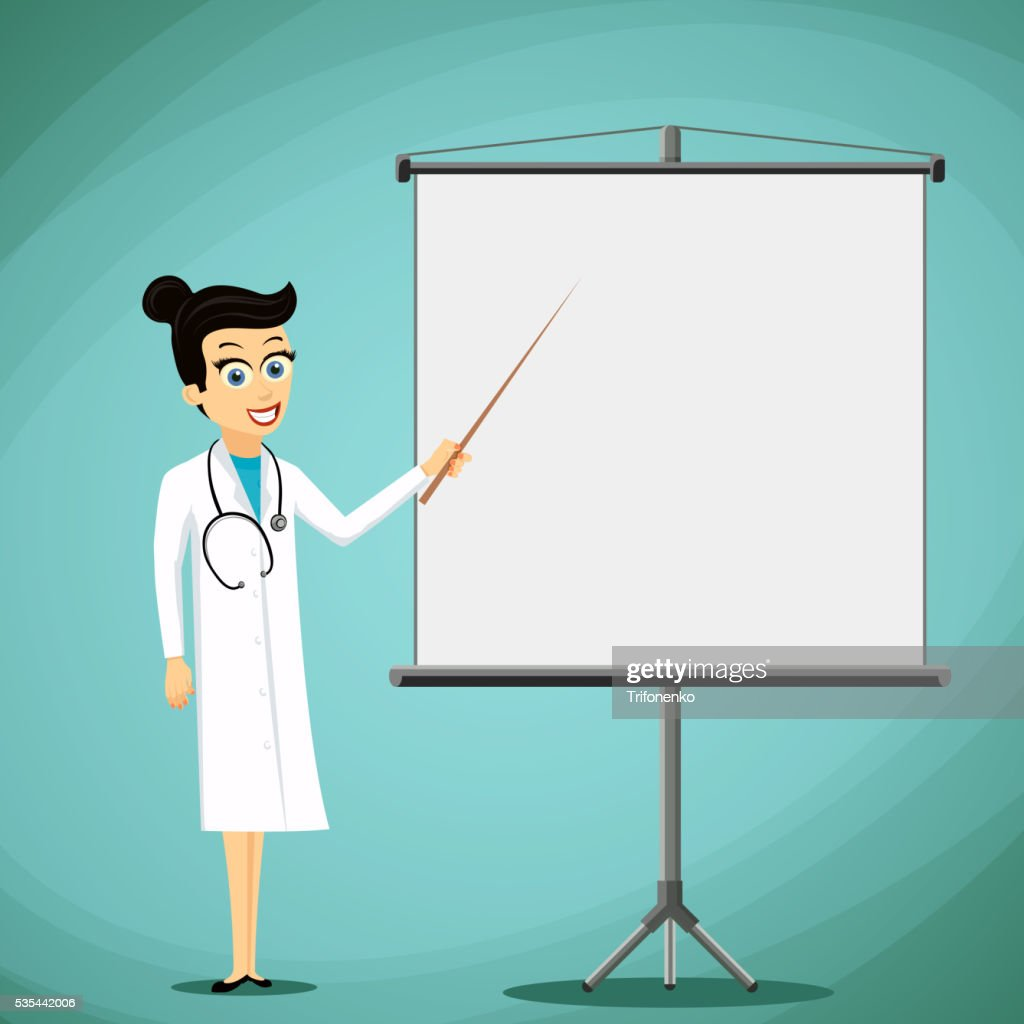 Woman doctor shows pointer on the white board.