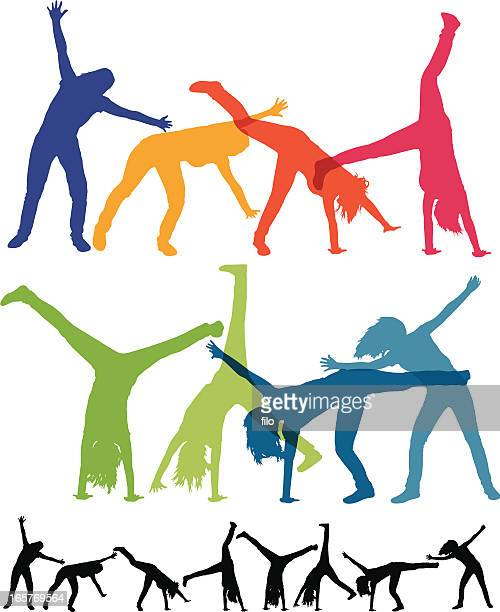 woman doing a cartwheel silhouettes - gymnastics stock illustrations, clip art, cartoons, & icons