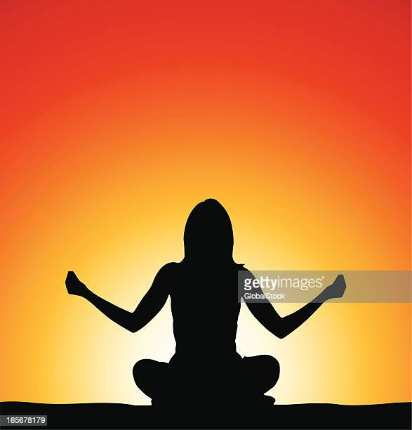 woman doing yoga in front of sunrise - afterlife stock illustrations, clip art, cartoons, & icons