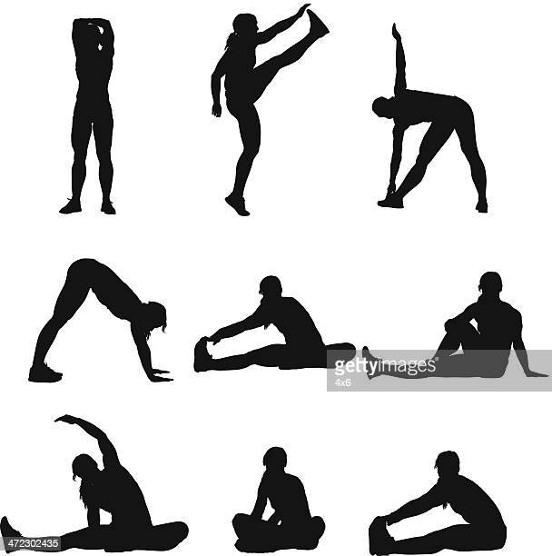 woman doing yoga - touching toes stock illustrations, clip art, cartoons, & icons