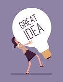 Woman dragging a giant light bulb, Great Idea