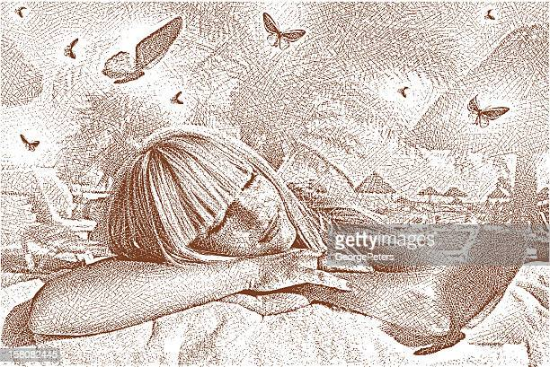 woman dreaming and butterflies - lying on front stock illustrations, clip art, cartoons, & icons