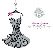 Woman dress Silhouette.Words Best dress.Chandelier.Template