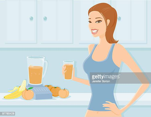 woman drinking a fruit smoothie - juice drink stock illustrations, clip art, cartoons, & icons