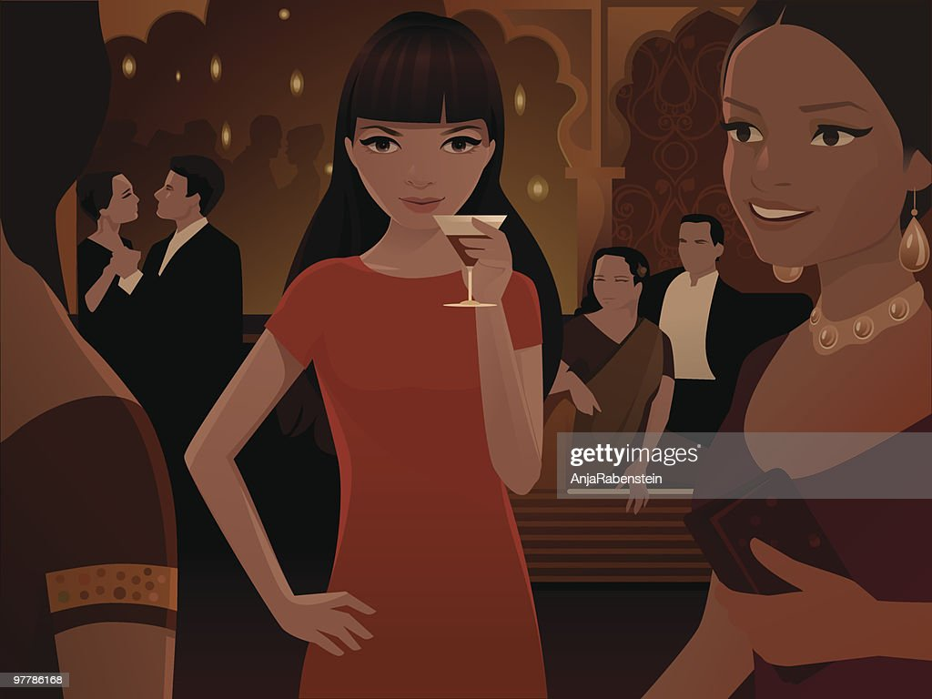 Woman Drinking Cocktail at Large  Party : stock illustration