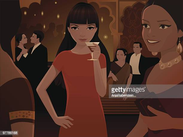 woman drinking cocktail at large  party - flirting stock illustrations, clip art, cartoons, & icons