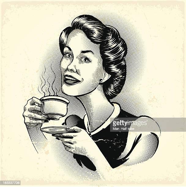 ilustrações, clipart, desenhos animados e ícones de mulher bebendo café - café bebida