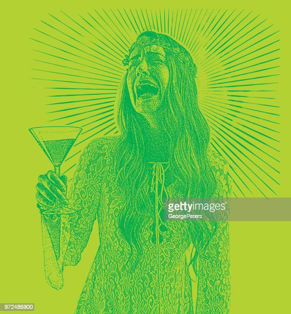 Woman drinking martini and crying