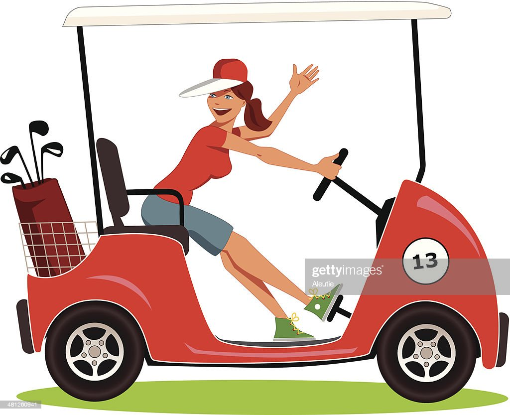 Woman driving a golf cart