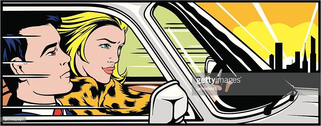 男性に女性が運転 : ストックイラストレーション