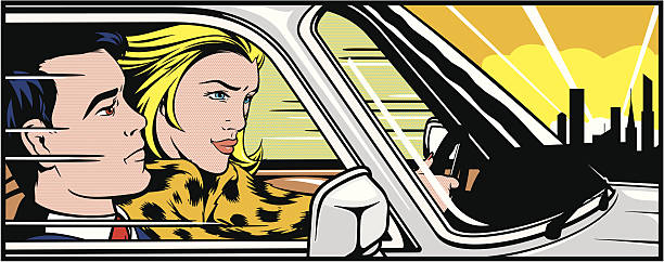 woman driving a man around - cartoon stock illustrations