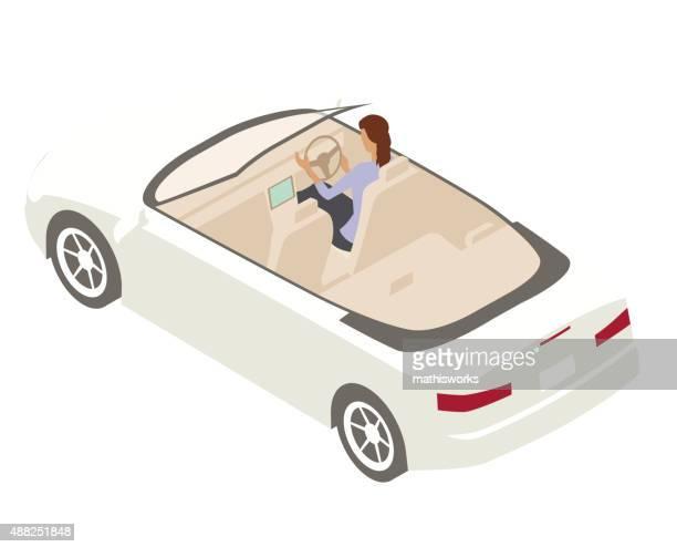 woman driving convertible illustration - mathisworks stock illustrations