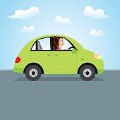 Woman driving green car