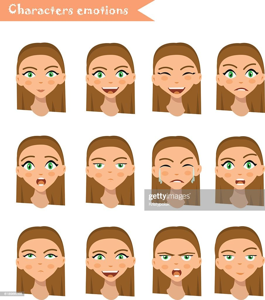 woman emotion face set.