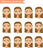 woman emotion face set.