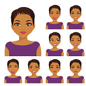 Woman emotion set