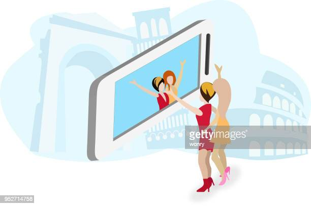 Woman enjoy selfieing