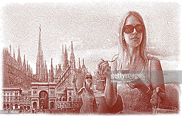 woman enjoying italy - milan stock illustrations, clip art, cartoons, & icons