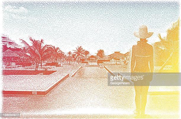 Woman Enjoying Luxury, Tropical Resort Spa