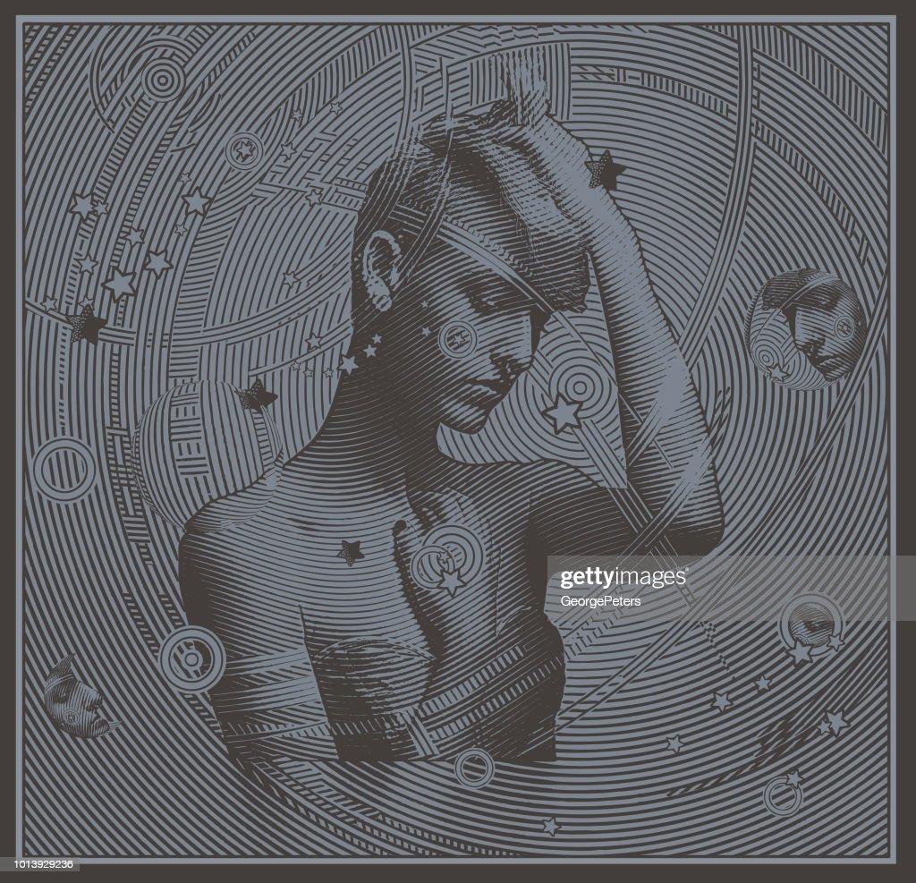 EDM woman enjoying music : stock illustration