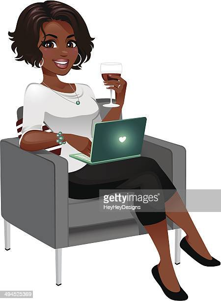 Woman Enjoying Wine with Laptop