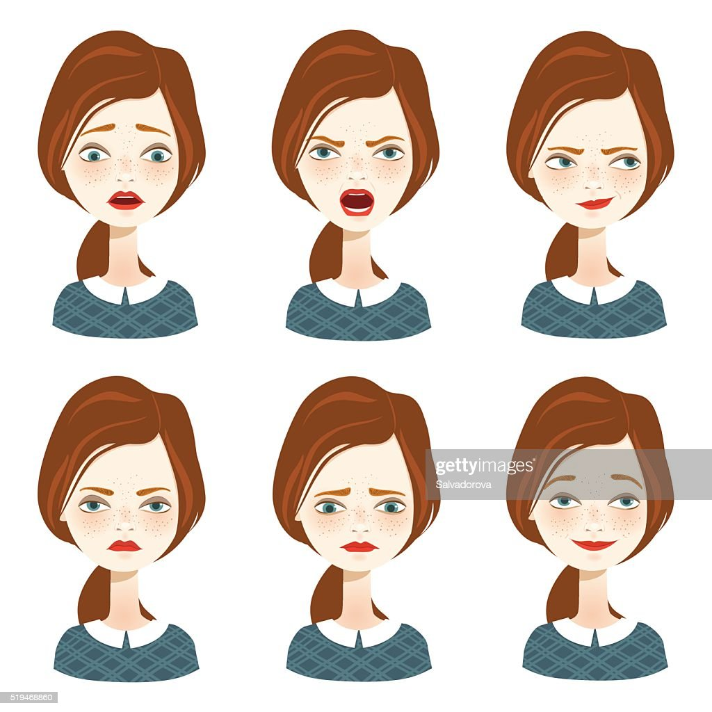 Woman expression set - Illustration