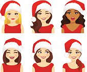 Woman expression set in santa hat
