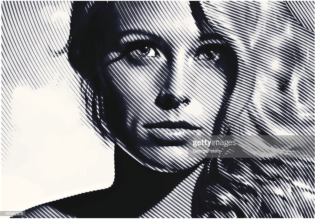 Woman Face Close-up : stock illustration