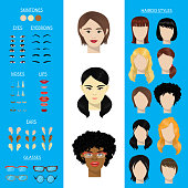 Woman face constructor vector set female character avatar creation head ears lips nose eyes eyebrows hairdo Asian African American facial elements construction illustration isolated