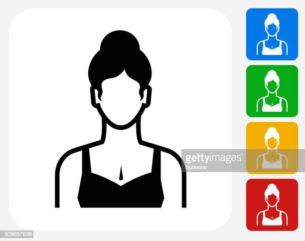 Woman Face Icon Flat Graphic Design