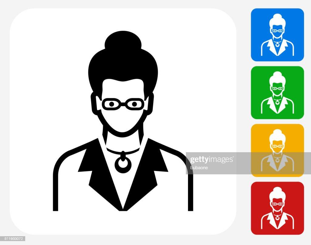 Woman Face Icon Flat Graphic Design : stock illustration