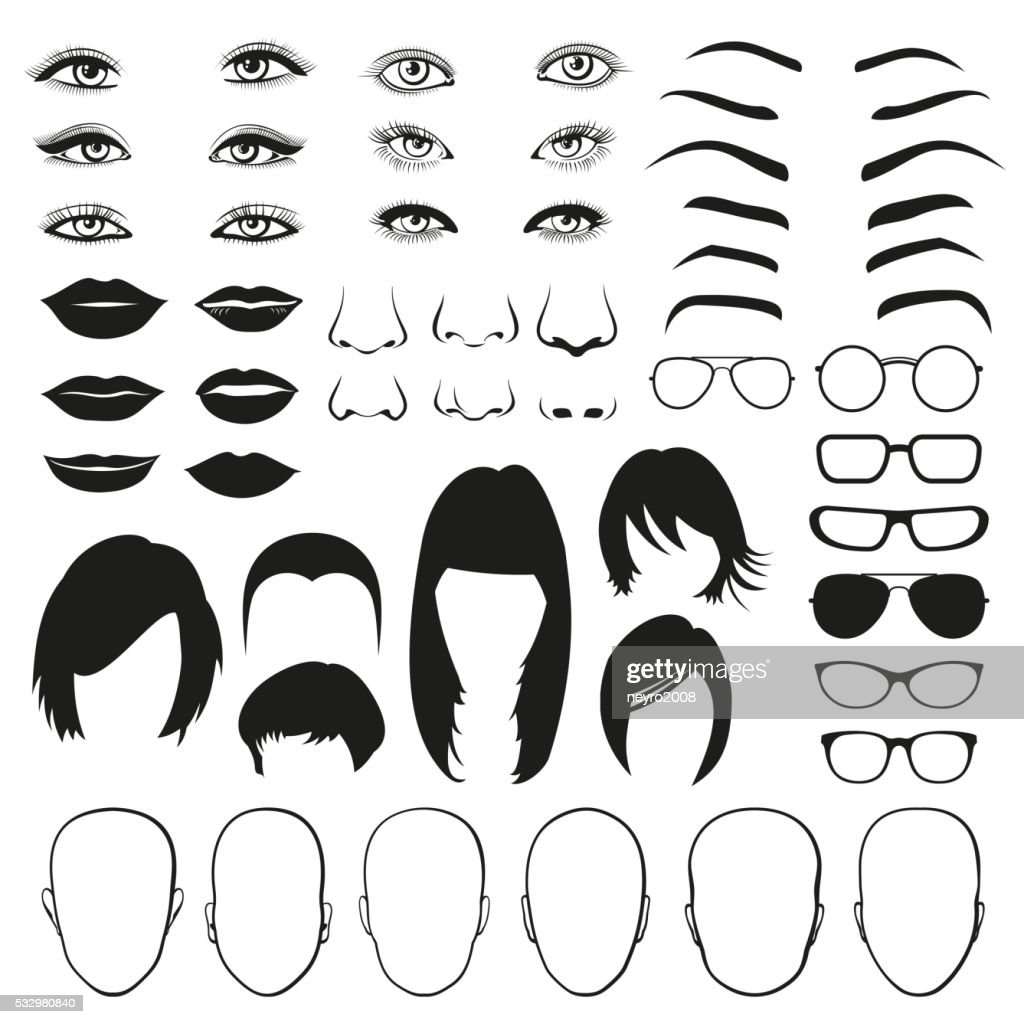 Woman face parts, eye, glasses, lips and hair. Vector set