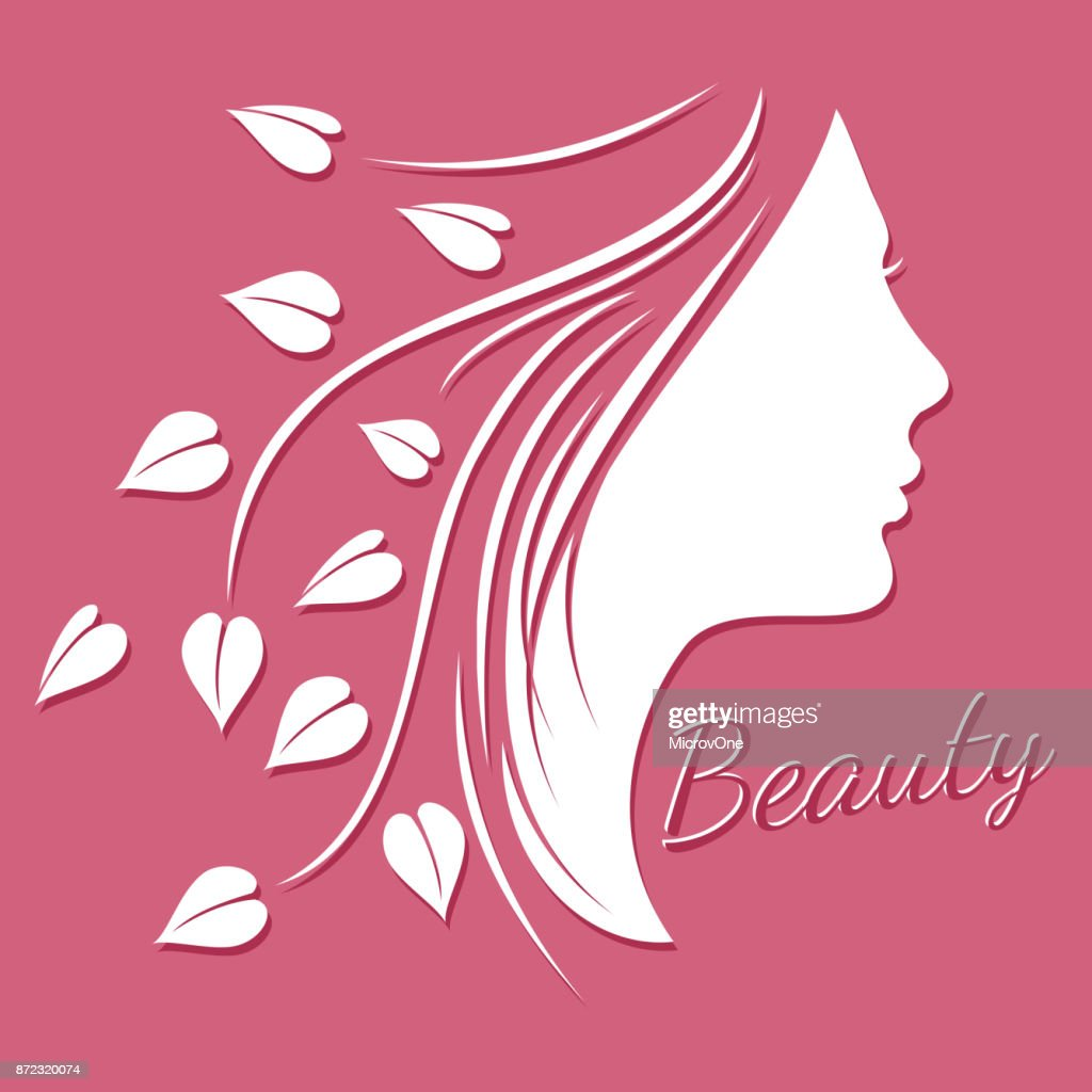 Woman face silhouette - beauty logo or emblem with female shape