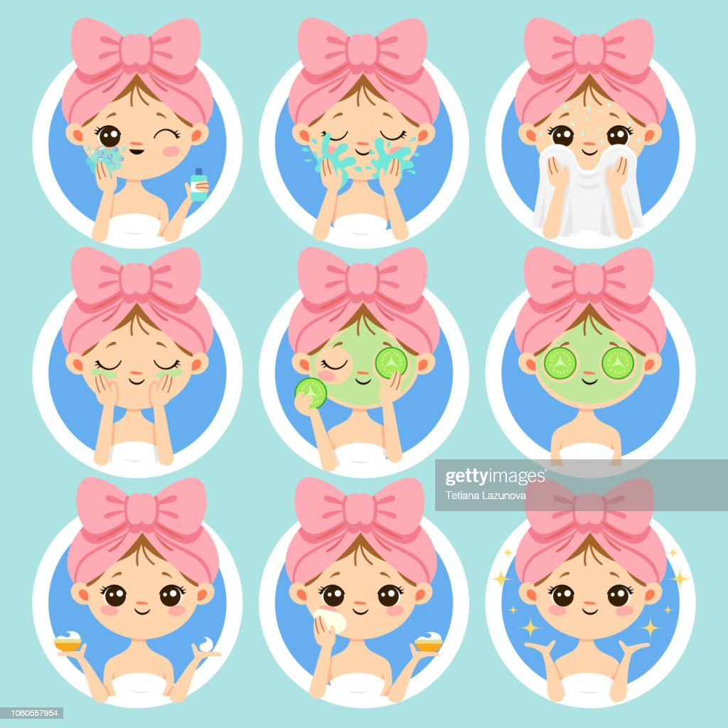 Woman face skin care. Healthy and beauty skincare, clean skin on fresh woman faces. Wash and clear face cartoon vector illustration