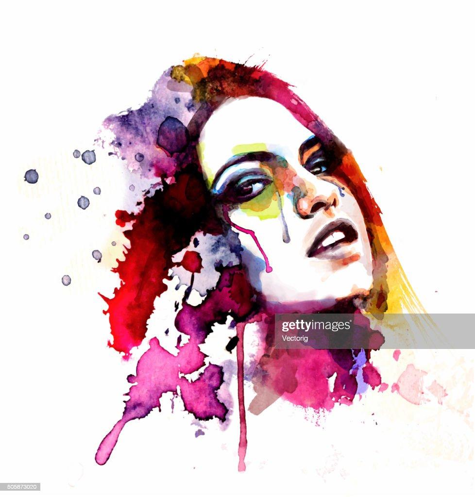 Woman face : Stock Illustration