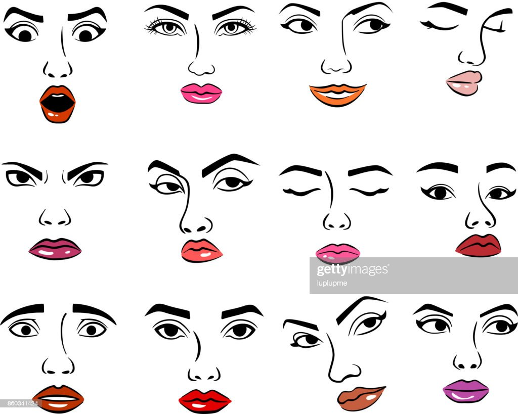 Woman faces emotion face vector illustration and girl feemale emoji icon cute character human expression