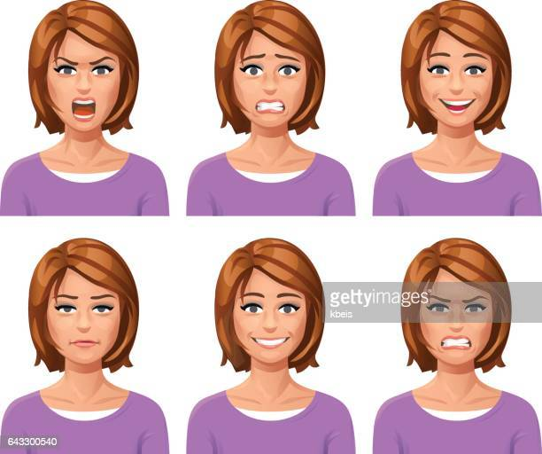 woman facial expressions - only women stock illustrations, clip art, cartoons, & icons