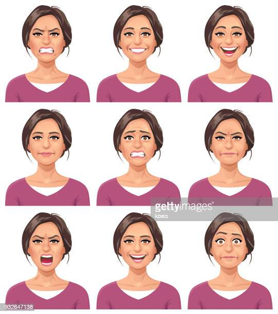 stockillustraties, clipart, cartoons en iconen met vrouw - faciale expressies - eén persoon