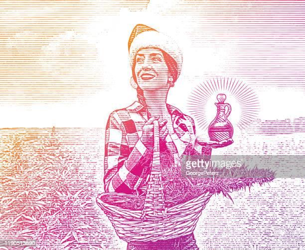 麻の芽とcbdオイルギフトのバスケットを持っている女性農家 - トリコーム点のイラスト素材/クリップアート素材/マンガ素材/アイコン素材