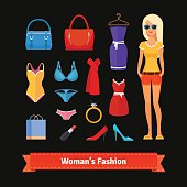 Woman fashion colourful flat icon set with model
