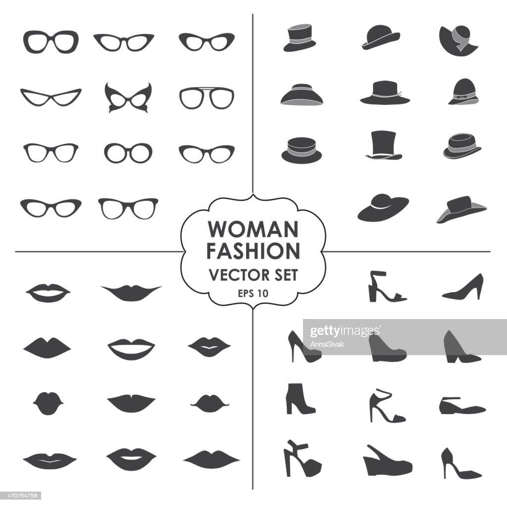 Woman Fashion Set vector - icons, glasses, hats, shoes, lips