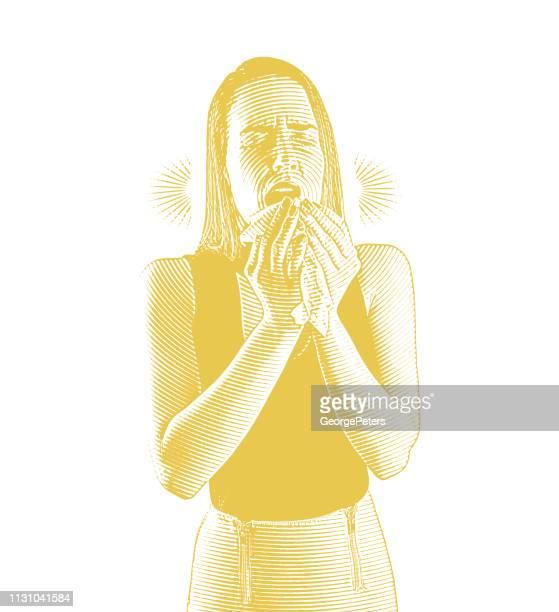 frau fühlt sich krank und niest - blowing nose stock-grafiken, -clipart, -cartoons und -symbole