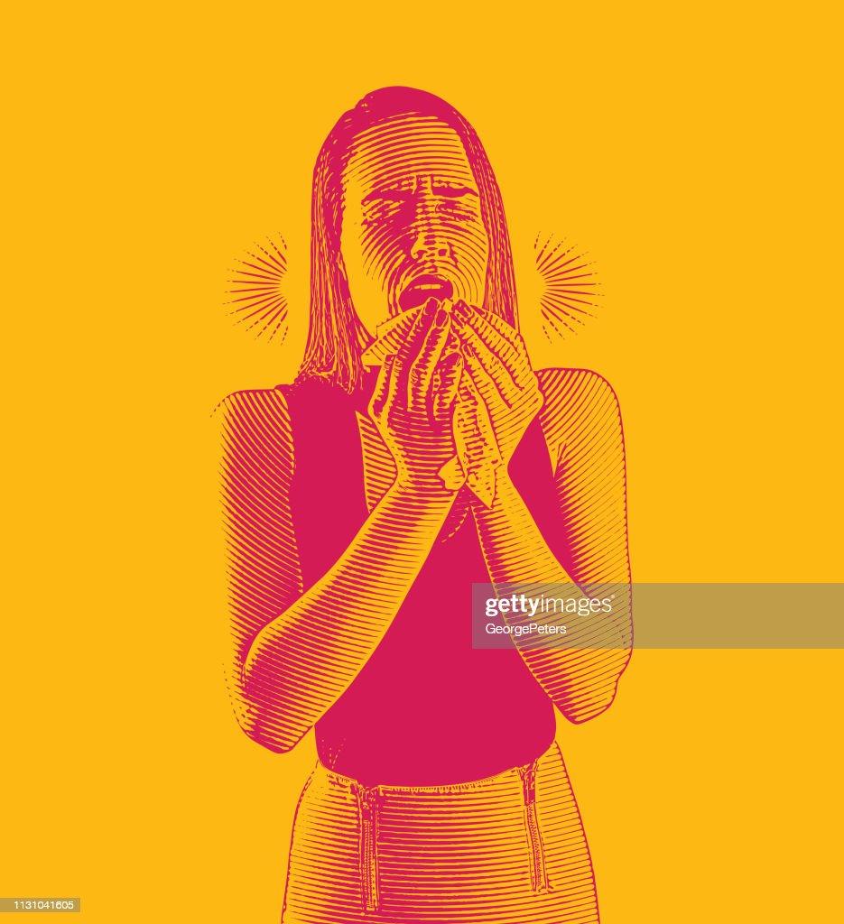 女性は病気とくしゃみを感じる : ストックイラストレーション
