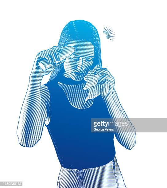 frau, übelkeit und messung ihrer temperatur - blowing nose stock-grafiken, -clipart, -cartoons und -symbole